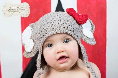 aaed703e9c9 Crochet Elephant Hat with Earflaps and Alabama Red Crochet Bow - Newborn