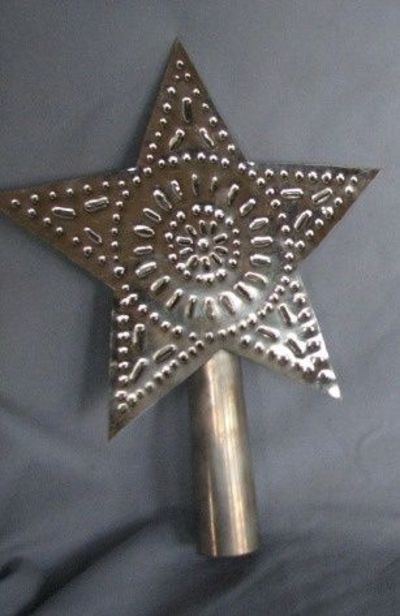 Rustic handmade punched tin christmas tree star topper