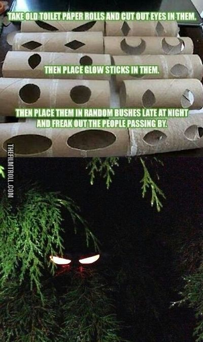 Toilet paper tube eyes, just add a glow stick! This idea is genius!!!