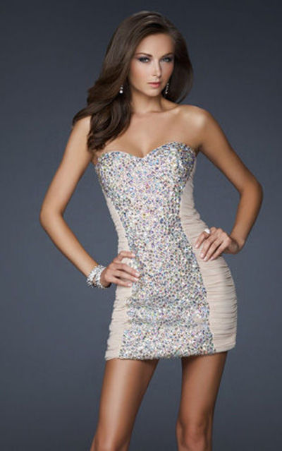 Short Nude Sparkly Strapless Tight Homecoming Dresses / short nude ...