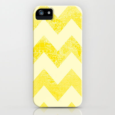 yellow chevron iphone case with world map