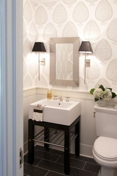 Pretty powder room with katie ridder leaf wallpaper bath Pretty powder room ideas