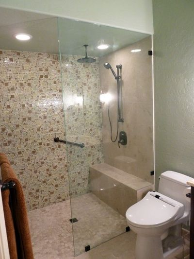 Curbless Doorless Shower With A Micro Versailles Glass Tile Bath Ideas Juxtapost