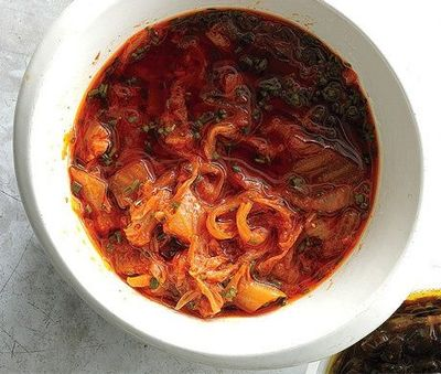 Recipe: Kimchi Relish. - Spoon this spicy and acidic sauce over a steak salad, serve alongside pan-fried chicken, or try it on a taco.