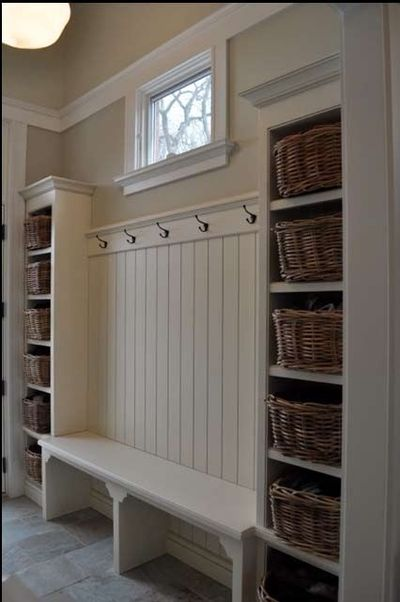 Back wall of garage before enter the house? Simple built-ins to create a mudroom or storage anywhere from a kids room to a laundry room by adding shelves or a deeper bench for sitting. Or instead of custom, buy two thrift store bookcases and paint them, b...