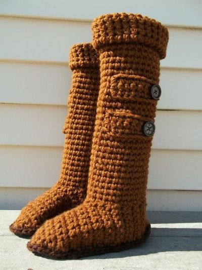 Free Crochet Pattern Ugg Boots : Knee High Ugg Slipper Boots: free crochet pattern ...