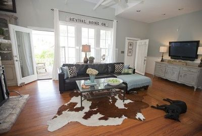 Tremendous Brown Leather Couch Cowhide Rug Austin Modern Farmhouse Bralicious Painted Fabric Chair Ideas Braliciousco