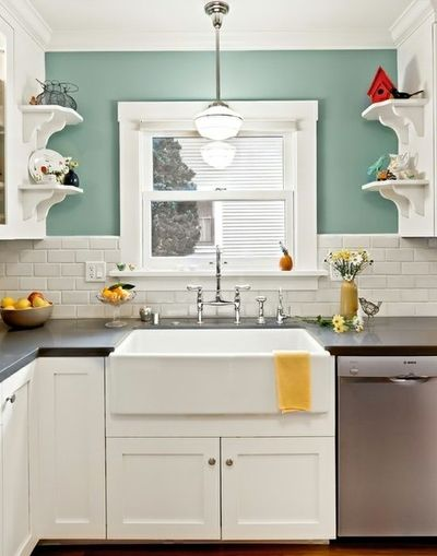 Small kitchen! Paint color: Benjamin Moore Kensington Green ...