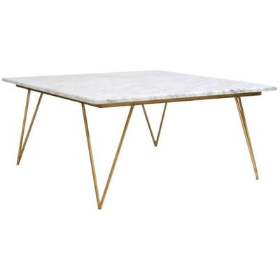 Worlds Away Neal White Marble Gold Coffee Table
