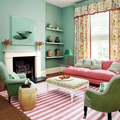 Delightful Pink And Green/teal Living Room With Striped Pink Rug And Floral Curtains. Part 17