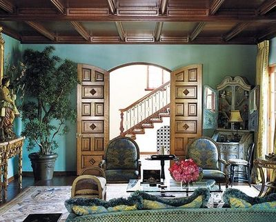 turquoise living room wood trim coffered ceiling teal blue d