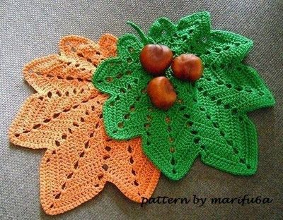 Crochet Hot Pad Doily Autumn Leaf Pattern For Beginner By