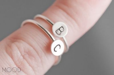 MONOGRAM - Custom initial ring in Argentium Sterling Silver - Made in your size. $20.00, via Etsy.