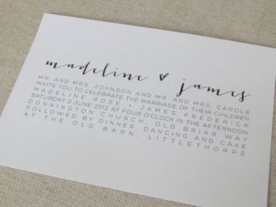 Modern Calligraphy Wedding Invitations by AmeliaLanePaper on Etsy, £3.60