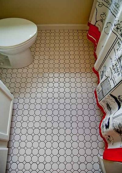 we put simple white octagon and dot ceramic floor tile bath ideas juxtapost. Black Bedroom Furniture Sets. Home Design Ideas