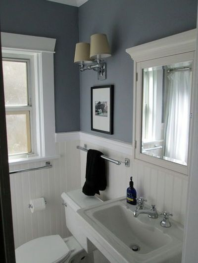 Period bath remodel benjamin moore sweatshirt gray - Bathroom paint colors with gray tile ...
