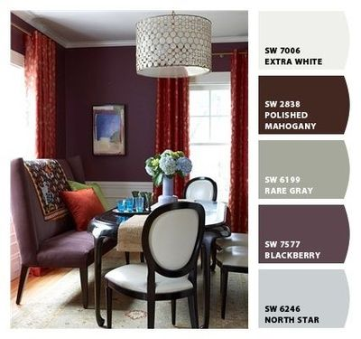 "Sherwin Williams' ""Blackberry"" paired with an ivory or a cream."