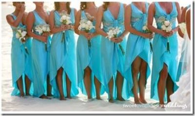 Turquoise aqua blue bridesmaid dresses with the high low for Turquoise bridesmaid dresses for beach wedding