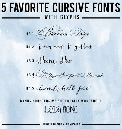 5 cursive fonts with tutorial on how to use glyphs in illust