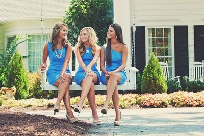 blue bridesmaids dresses and nude heels / wedding ideas - Juxtapost