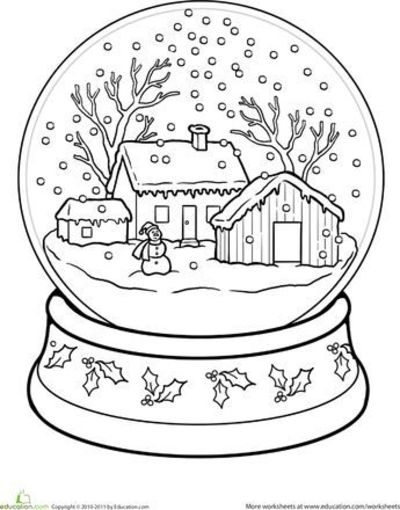 fox snow globe coloring pages - photo#1
