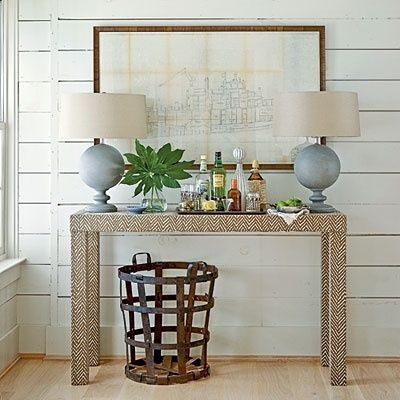 Ordinaire Fabric Covered Console Table   Not Crazy About The Fabric But I Never  Thought Of Covering