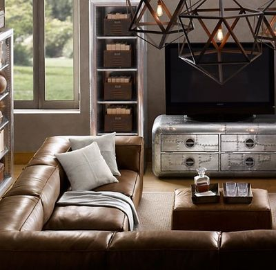 restoration hardware leather sectional fulham sofa for the home