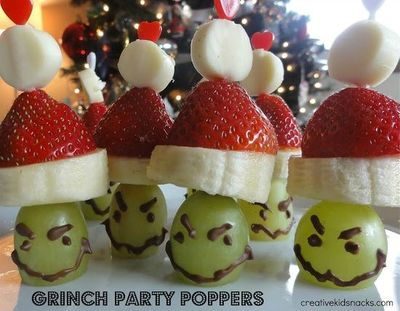 Grinch Party Poppers for kids Christmas parties by Creative Kid Snacks