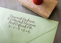 Custom Return Address Stamp // BRIGHT // hand calligraphy. $62.00, via Etsy.