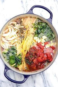 One Pot Wonder Tomato Basil Pasta Recipe from Apron Strings. Boil everything together and nothing to drain.