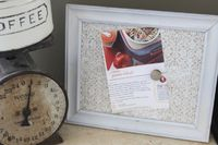 repurpose a picture frame as a recipe holder for the kitchen! (using sheet metal, scrapbook paper and magnets)
