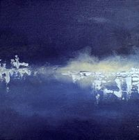 Frozen lake 5 - abstract winter landscape - oil and silver acrylic on canvas