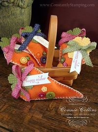 Connie Collins ~ Petal cone die felt carrot Easter bags