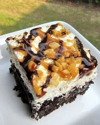 Snickers Cake 1 box devils food cake mix, plus ingredients to make the cake 1 can sweetened condensed milk 1 jar Smuckers hot caramel ice cream topping 1/2 cup chocolate chips 2 cups heavy whipping cream 1/2 cup powdered sugar 1 tsp vanilla 3 snickers can...