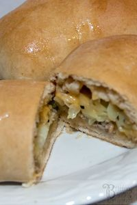 Runza: dough stuffed with cabbage and meat. I've never had it before but it sounds so good!