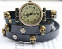 Leather Bracelet Skull Watch 3 colors,Vintage Cow Leather Wrist Watch,Leather Watch &Brace