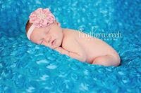 Love the pearl accents & the bright blue background. Baby Flower Headband- Newborn Headband- Light Pink Ruffled Satin Flower on Soft White Elastic Headband. $11.95, via Etsy.