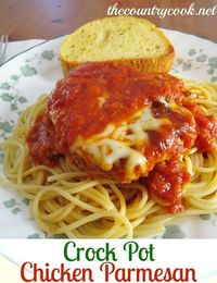 Crock Pot Chicken Parmesan�€�.This was gross, needs a whole lot more spice. Some thing's should not be a crockpot meal, this is one of them.