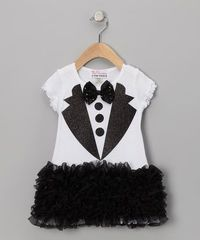 Something for a more formal occasion. Take a look at this Tuxedo Ruffle Dress - Infant, Toddler & Girls by Sparkle Couture on #zulily today!