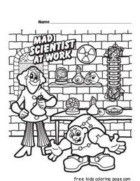 Characters coloring pages fargelegge tegninger halloween kids mad online printable scientist sheets on floral for living room