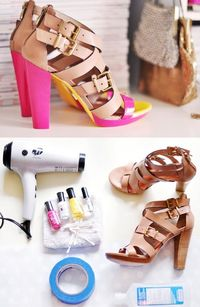DIY: Give old shoes a makeover with neon paint - using nail polish. I would also recommend Montana spray paint.