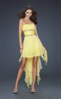 Yellow Strapless High Low Homecoming Dresses