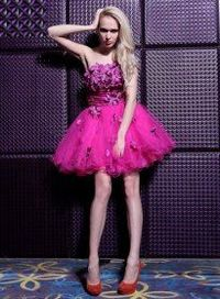 Hot Pink Floral Ruched Strapless Short Homecoming Dresses