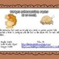 This download contains subtraction fact cards with Thanksgiving clip art that can be used as a center or partner practice. Each card has a letter ...