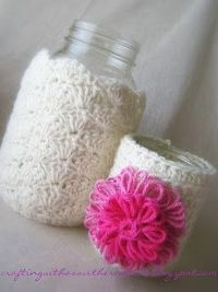 Mason Jars and other containers - Crochet cozies -- Crafting with a Southern Heart
