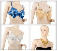 BellyLady Wholesale Lots Of 3 Belly Dance Tribal Sequined Bra Top & Gold Coins Necklace Set