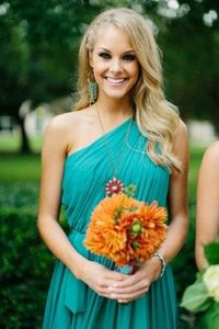 Gorgeous one shouldered turquoise bridesmaid dress - bright, boho and fun. Stunning.