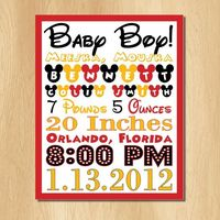 Baby Birth Announcement Mickey Mouse Subway Art DIY Custom boy or girl.