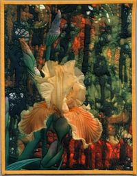 Yellow iris on a batik background - an art quilt by Barbara Barrick. Takes my breath away!
