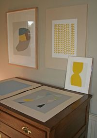 mid century modern large original handmade geometric, abstract sceenprint in cream and yellow inspired by fifties textiles & modernism